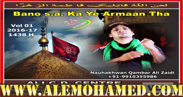 Qamber Ali Zaidi Nohay 2016-17