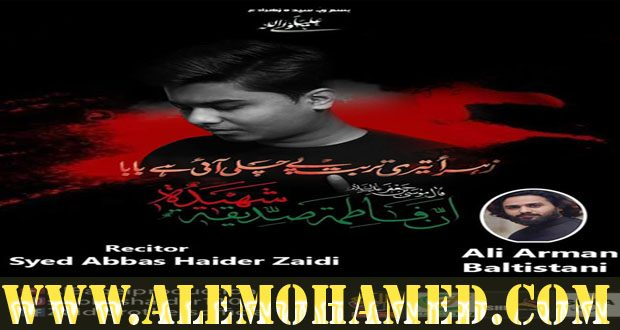Abbas Haider Zaidi Ayyam-e-Fatima Nohay 2019-20